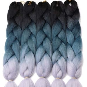 5 packs of Black blue gray ombré braiding hair NWT